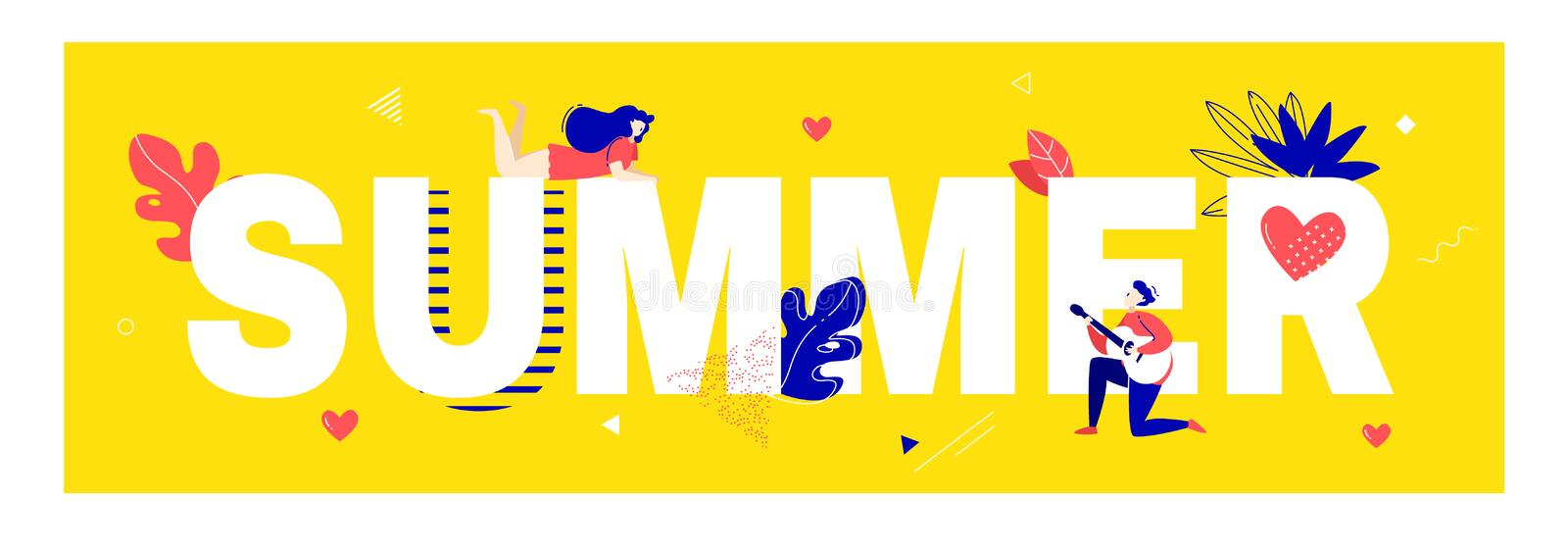 Summer poster with dreaming girl, boy playing the guitar, text, plants and graphic elements on yellow background. Funny card. In trendy flat linear style vector illustration