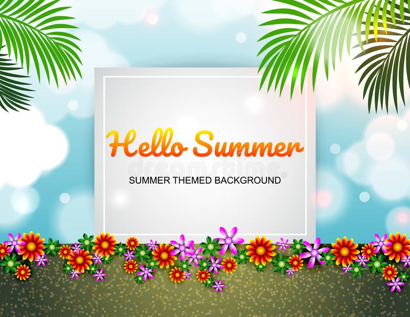 Spring Summer poster wonderful flowers design layout. royalty free illustration