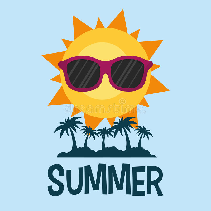 Summer poster palms sun glasses royalty free illustration