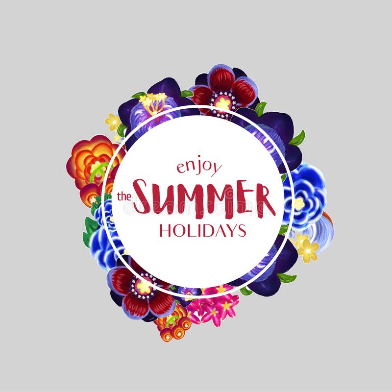 Summer poster with round flower frame stock image