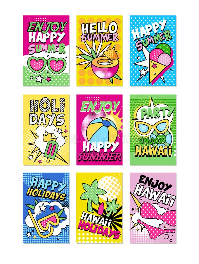 Summer poster set, Hello summer, Enjoy party, Happy holidays can be used for invitation, card, banner, brochure, flyer vector illustration