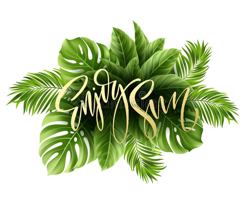 Summer poster with tropical palm leaf and handwriting lettering. Vector illustration. EPS10 royalty free illustration
