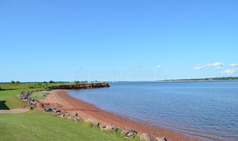 Summer on Prince Edward Island: View of Charlottetown Harbour and Hillsborough East River from Rocky Point. Summertime on Prince Edward Island: View of royalty free stock photos