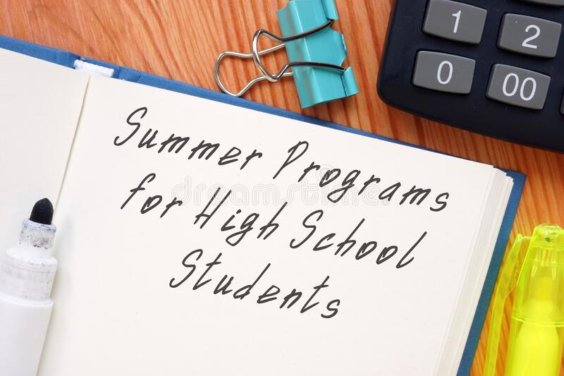 Summer Programs For High School Students inscription on the page.  royalty free stock photos