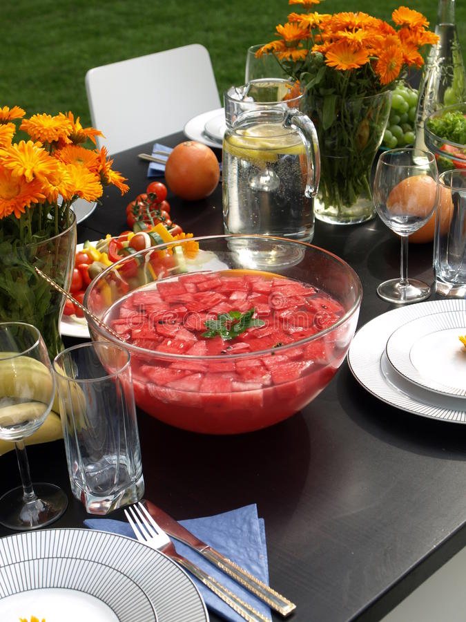 Summer punch. From watermelon for garden party stock image
