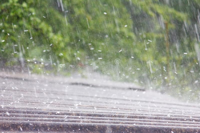 Summer rain with hail. Falls on the roof of slate royalty free stock photo