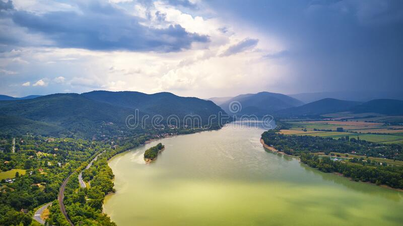 Summer rain and stormy weather. Danube river valley panorama royalty free stock images