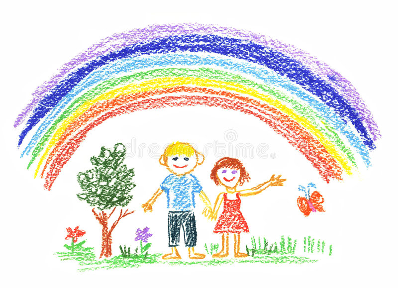 Summer rainbow stock illustration