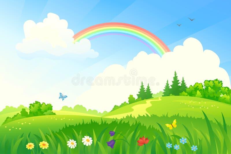 Summer rainbow. Illustration of a beautiful summer landscape with a rainbow