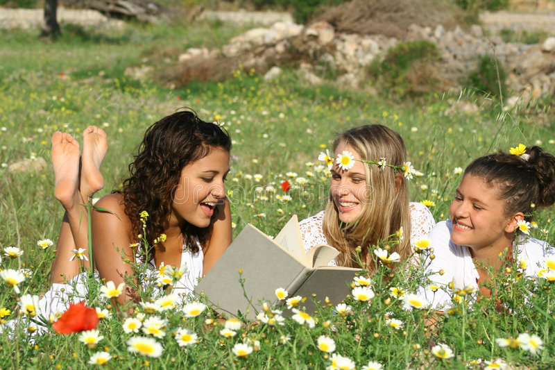 summer Reading outdoors royalty free stock photo