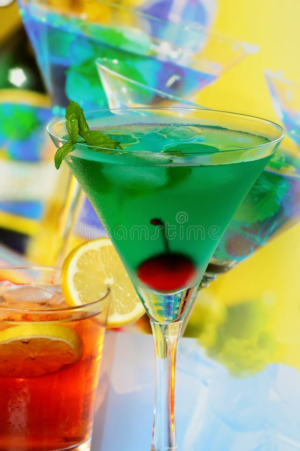 Summer recreational drink. With cherry and lemon royalty free stock images