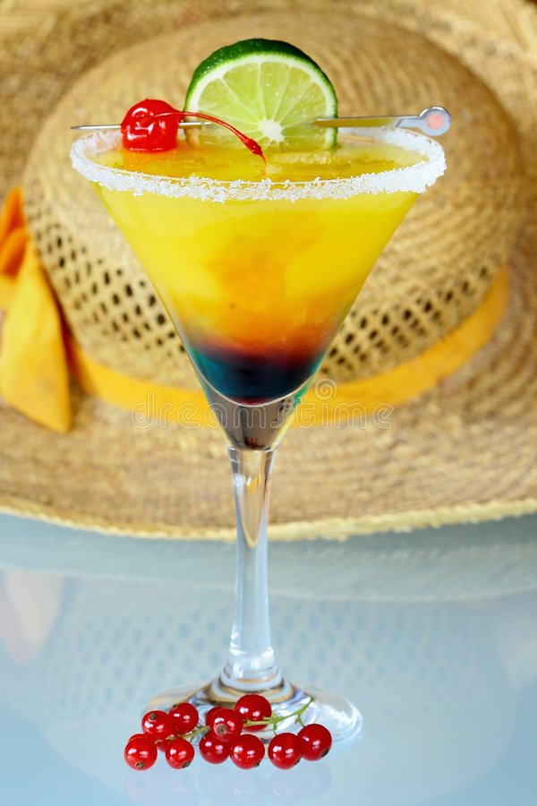 Summer recreational drink and. Summer recreational drink - with of the mango with red currants stock images