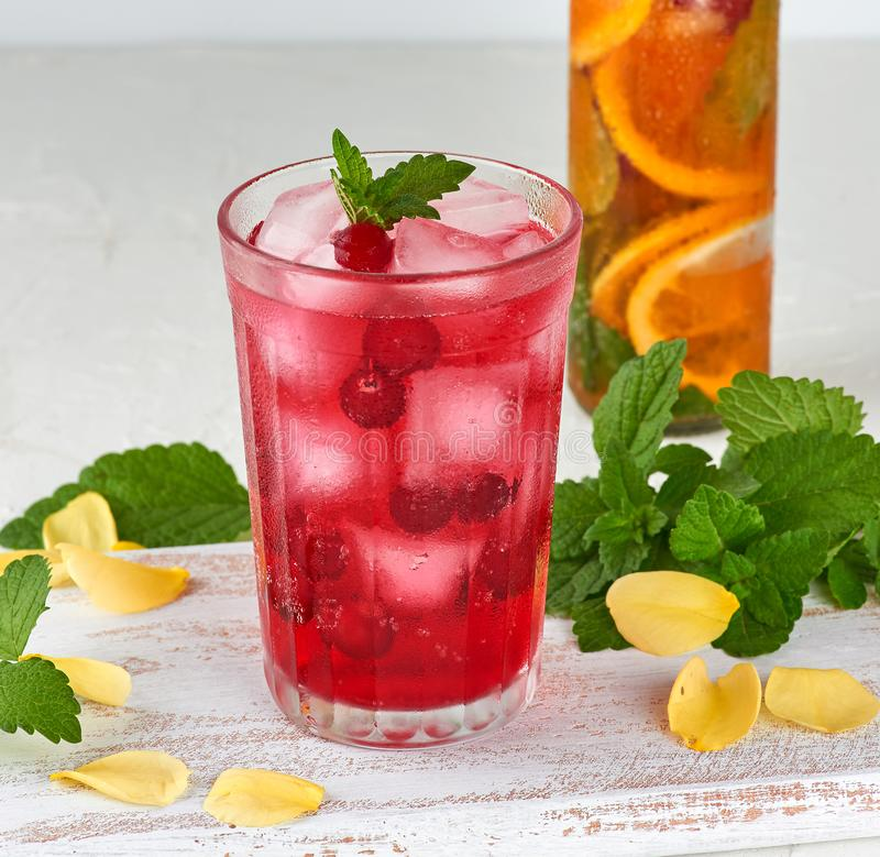 summer refreshing drink with berries of cranberries and pieces of ice in a glass royalty free stock photography
