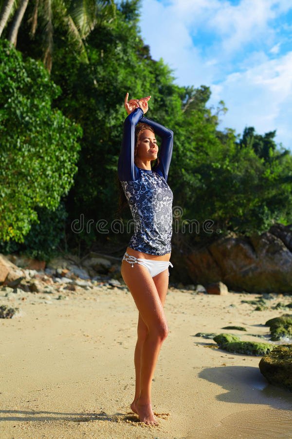 Summer Relaxation. Holidays Travel Vacation. Woman On Beach. stock image