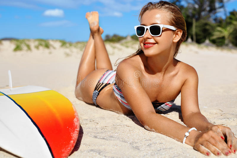Summer Relaxation On Holidays Vacation. Healthy Woman On Beach. stock images