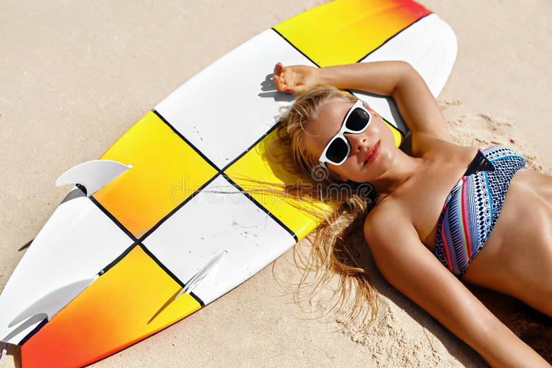Summer Relaxation On Holidays Vacation. Healthy Woman On Beach. royalty free stock photography