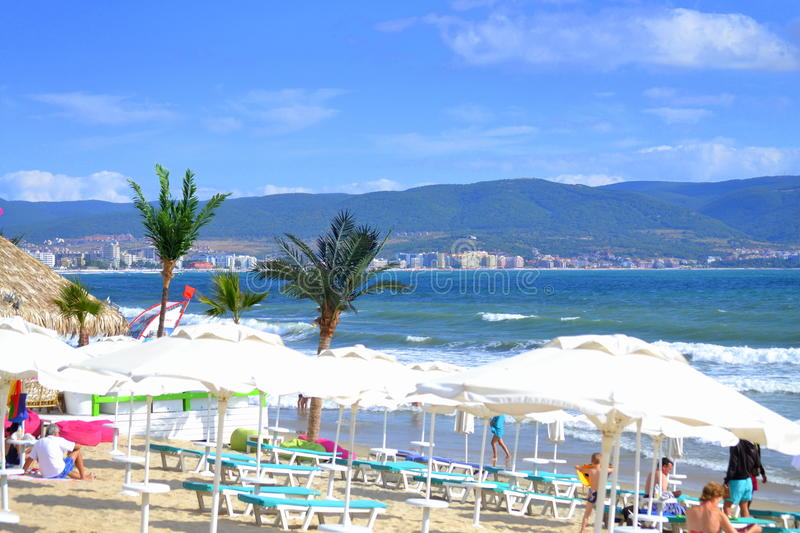 Summer resort. Bulgarian summer resorts view.Picture taken on August 31st 2014,Bulgaria,Sunny beach is the most popular Bulgarian summer resort,Black sea coast stock images