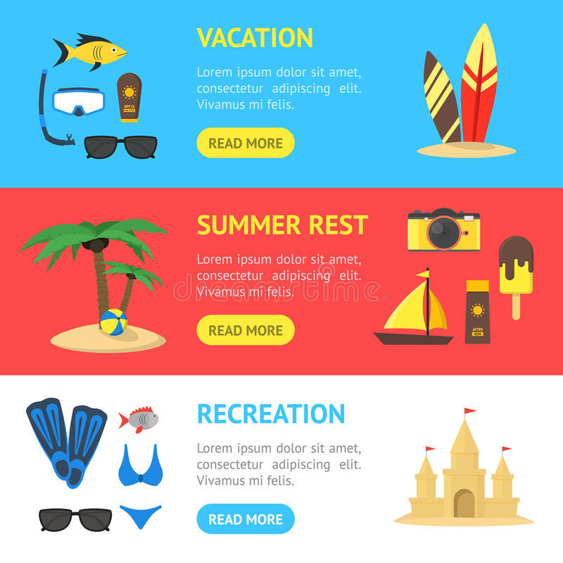 Summer Rest Banner Horizontal Set. Vector stock illustration