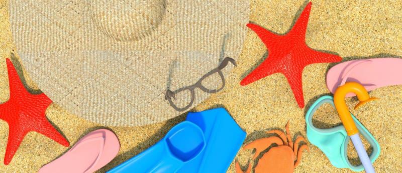 Summer-Rest-Beach-3D royalty illustrazione gratis