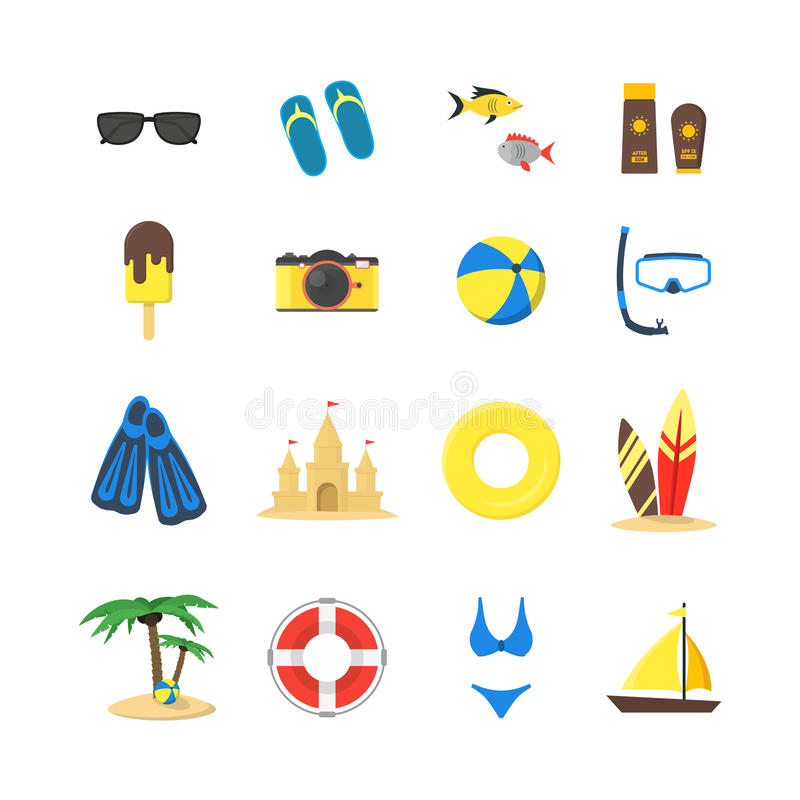 Summer Rest Color Icon Set. Vector stock illustration