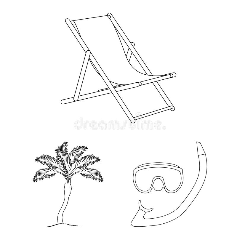 Summer Rest Outline Icons In Set Collection For Design. Beach ...
