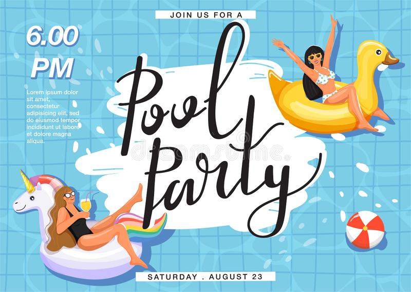 Summer rest and vacation. Pool party invitation. Women sunbathing on inflatable ring in swimming pool. royalty free illustration