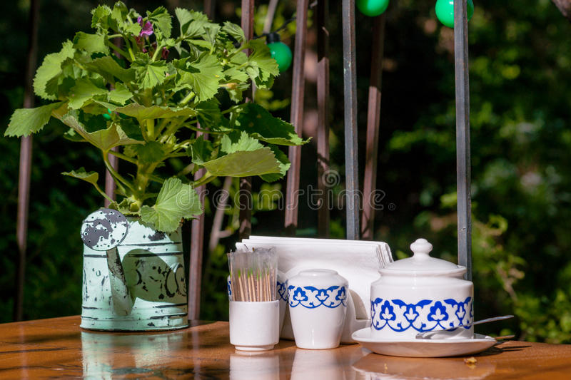 Summer restaurant table royalty free stock photo