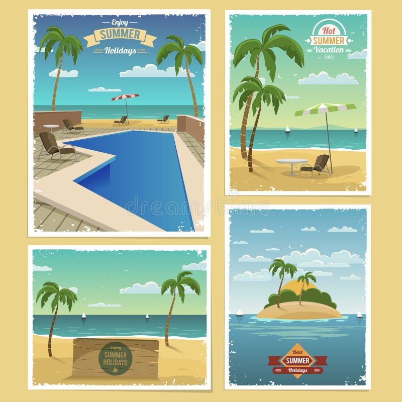 Summer Retro Backgrounds stock illustration