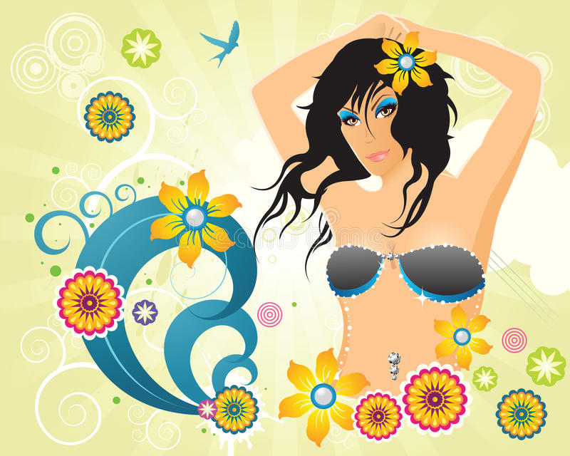 Download Summer Retro Party Girl With Flowers Stock Vector - Image: 13839185