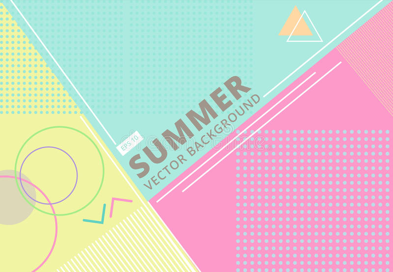 summer with retro style texture pastel color, pattern and geometric elements. Abstract design card perfect for vector illustration