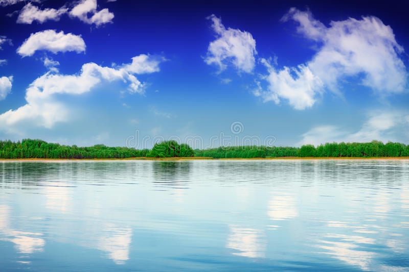 summer river landscape in cloudy day stock photo