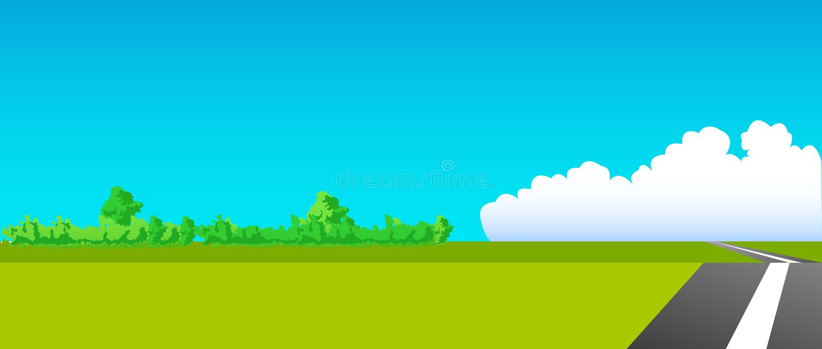 Download Summer road stock illustration. Image of clouds, scenery - 13190014