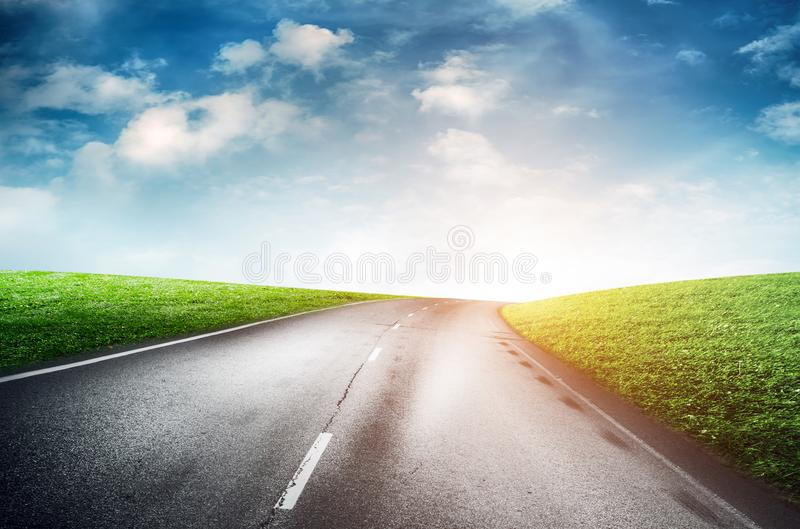Summer road and sky. Ecology nature background royalty free stock images