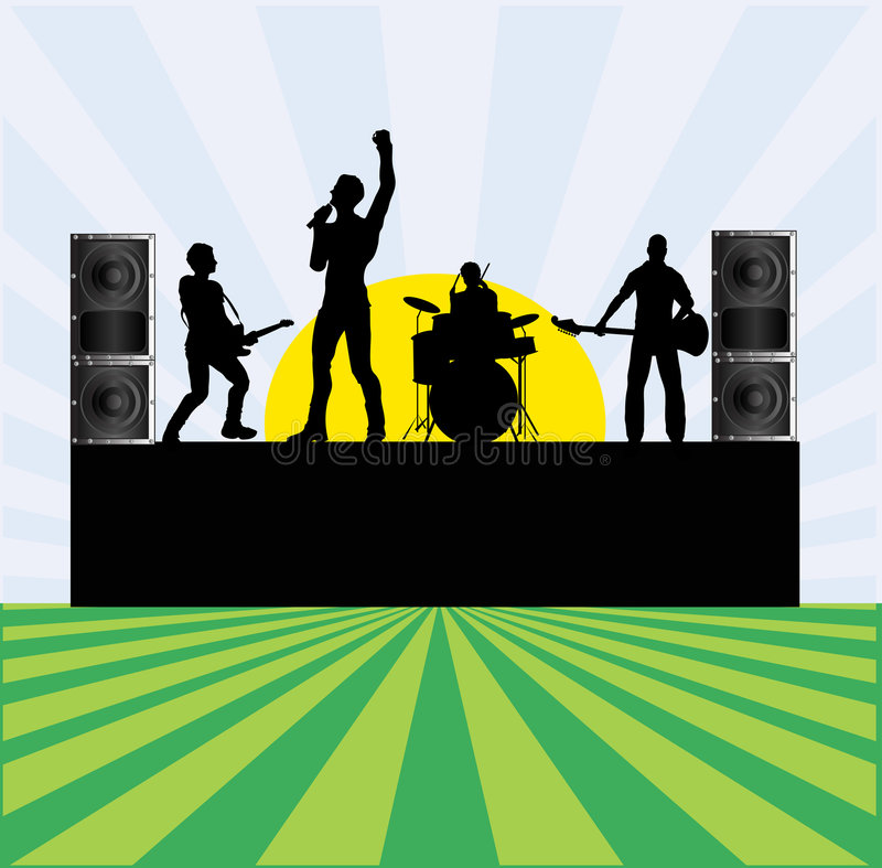Summer Rock Festival. An illustration of rock group performing outdoors for a festival flyer vector illustration