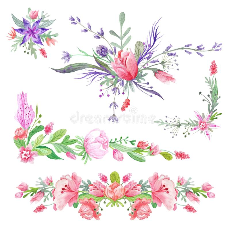 Summer Romantic Watecolor Borders. Set of botanical bright floristic vignette compositions isolated on white background for wedding, event design stock illustration