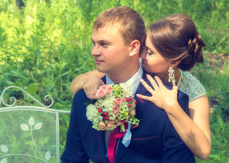 Summer romantic wedding in Provence style. In the forest, on the green grass stock images