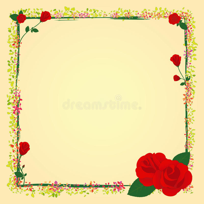 Summer rose garden flower frame vector illustration