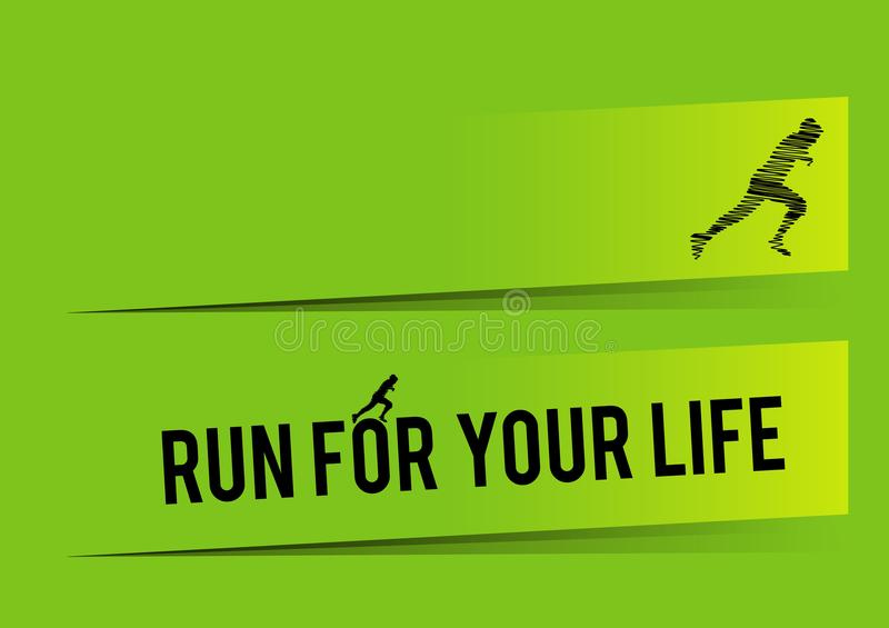 Summer run infographic, green background. Eps file for designers available. royalty free illustration