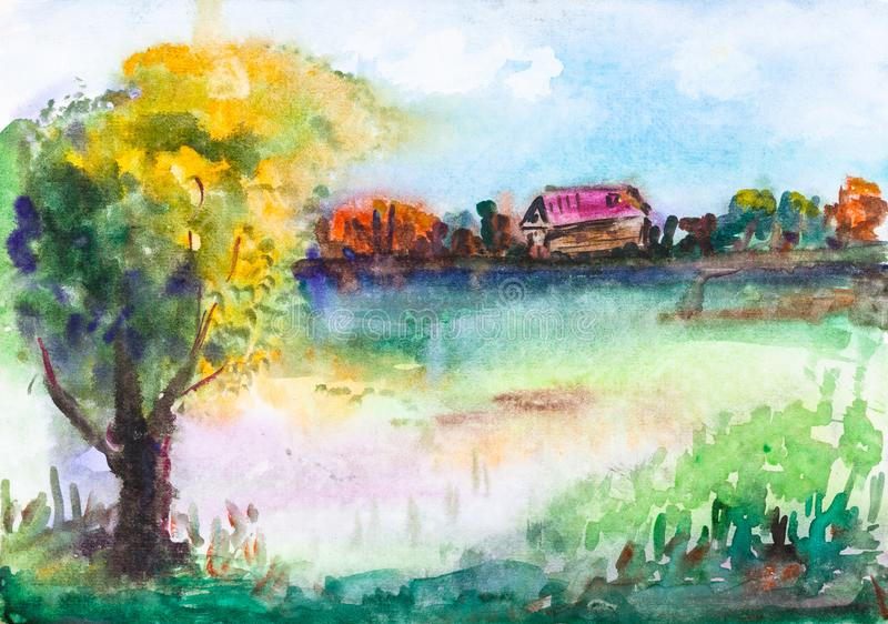 Summer rural landscape with pond and old house stock illustration