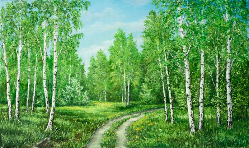 Summer rural landscape in Russia. Birchwood and country road. Original oil painting on canvas. Author s painting. royalty free stock image