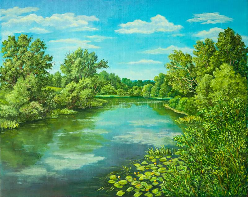 Summer rural landscape in Russia. Sunny day - calm blue summer river with reflection green grass and trees . Original royalty free stock images
