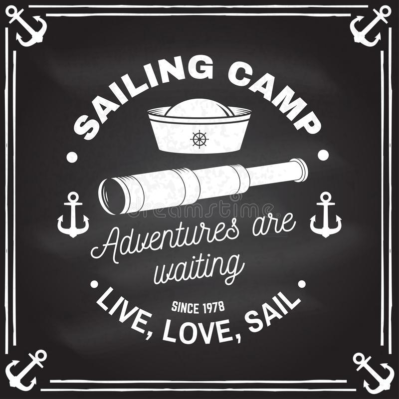 Summer sailing camp badge. Vector. Concept for shirt, print, stamp or tee. Vintage typography design with anchor, hand. Summer sailing camp badge. Vector on the vector illustration