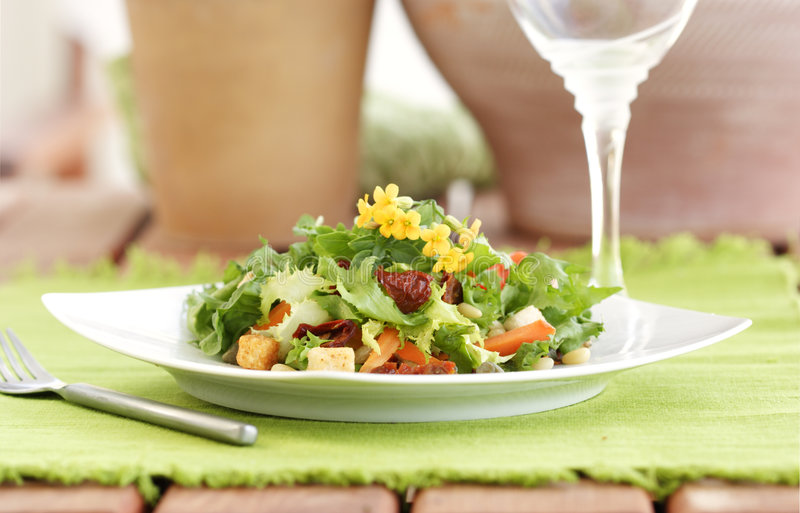 Summer salad table setting stock images