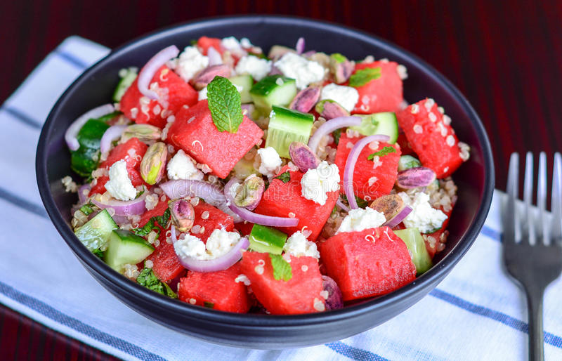 Summer Salad. With Watermelon and Quinoa royalty free stock photo