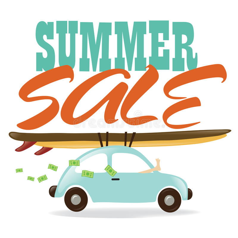 Summer Sale. Illustration of a car, surfboards, leg, and flying money
