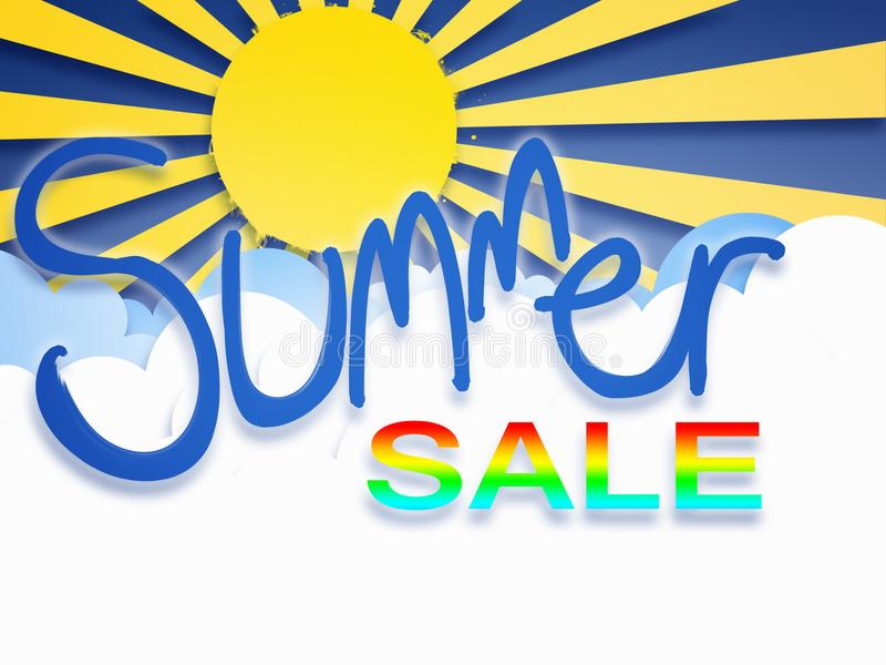 Summer sale lettering template banner stock illustration