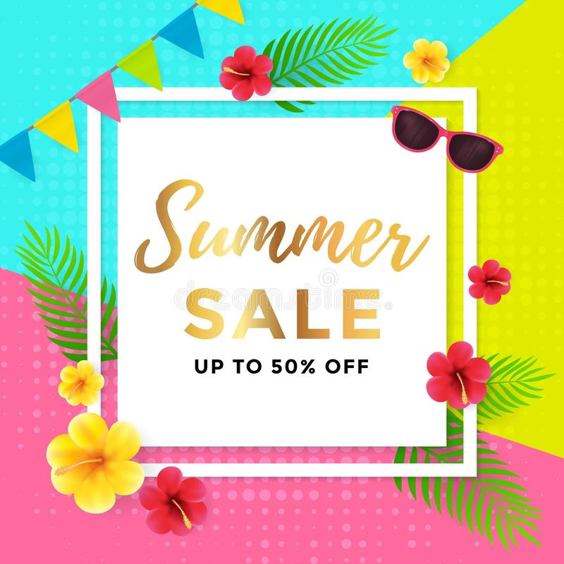 Summer Sale with Abstract Geometric Poster Design royalty free illustration