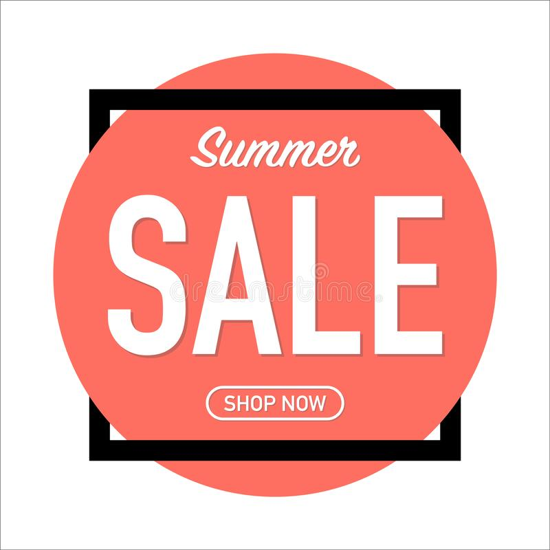 Summer sale advertisement on living coral background royalty free illustration