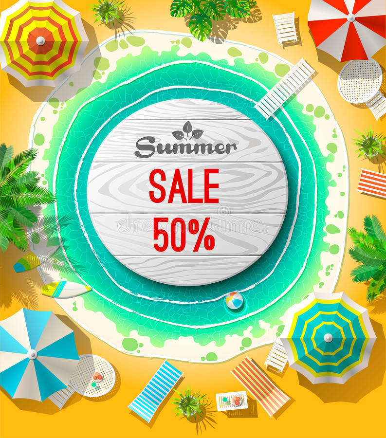 Summer sale announcement on beach vector illustration