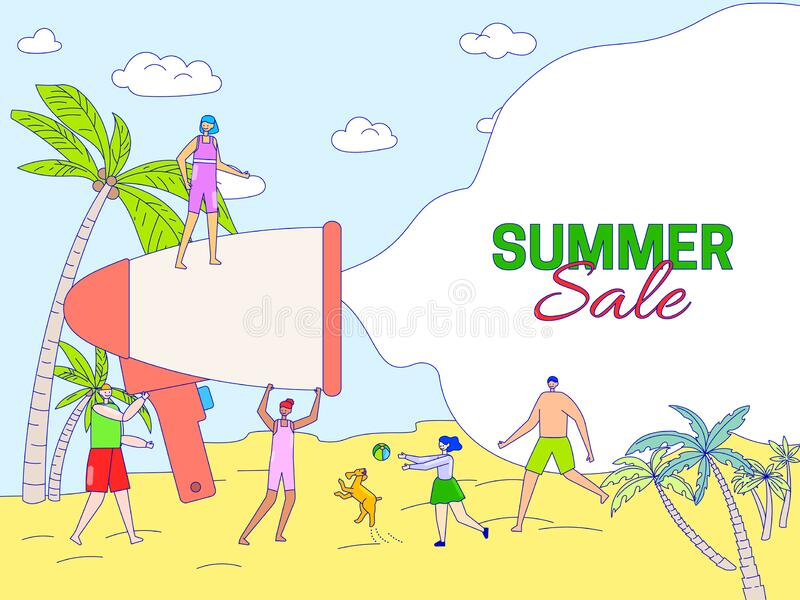 Summer sale announcement concept, people vacation on beach, happy family vector illustration. Man with kids cartoon characters playing in sand of tropical vector illustration